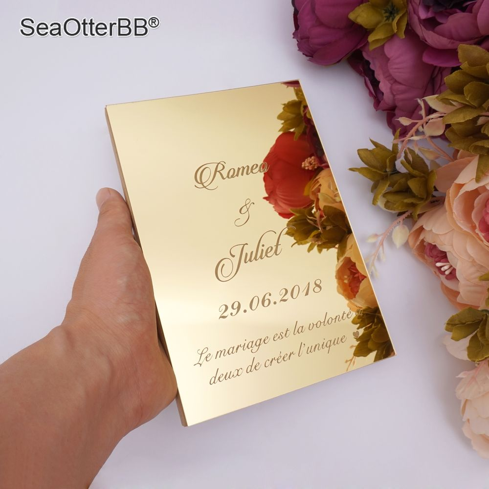 26cm X 19cm Custom Wedding Guest Book Personalized Gold Mirrored Front Cover Signature Books Party Favors Rustic Khaki Book