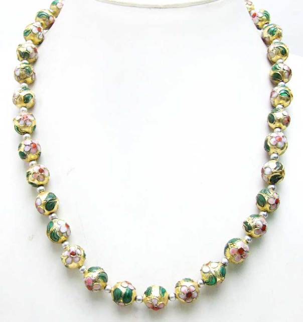 "SALE Big 12mm Gold Round Cloisonne & Tibetan Silver Beads 20"" necklace-nec6065 Wholesale/retail Free shipping"