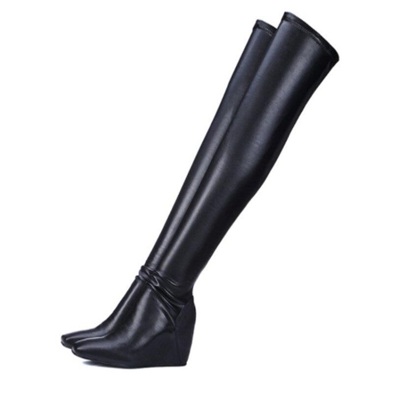 Alto Mujeres Caballero Del Sexy Las Cuadrado Altura Elástico Zapatos Pie Por Señoras Cuero Cuña Encima Invierno As Dedo La Rodilla Botas Aumentar Picture Tacón De Negro PTZxFqwnBv