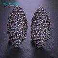Mechosen zirconia oval do parafuso prisioneiro de luxo brincos para mulheres de personalidade boucle d'oreille femme preto gun chapada brincos de cobre do vintage