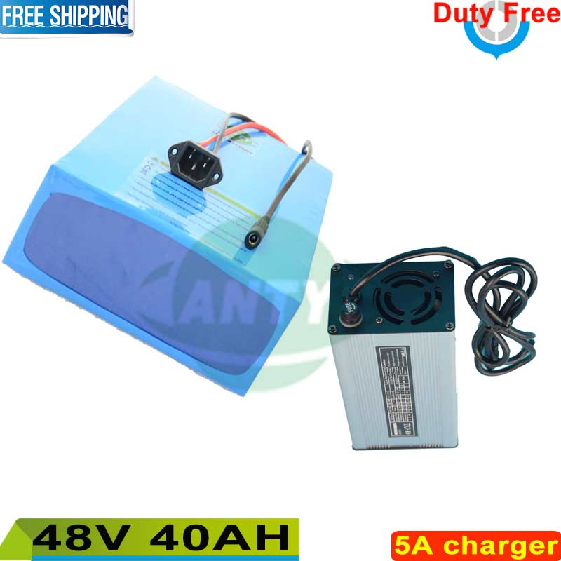 Free shipping / Duty Electric Bike Battery 1500W 48V 40Ah Lithium Battery for Electric Bike 48v ebike Bicycle 50A BMS 5A Charger 72v 40ah lithium battery super power electric bike battery 84v lithium ion battery pack charger bms free customs duty