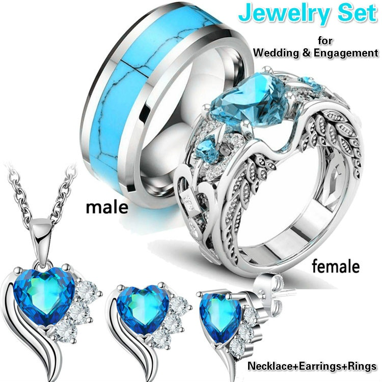 Rings Necklace Wedding-Jewelry-Sets Angel Tungsten-Ring Heart Silver for Women with And