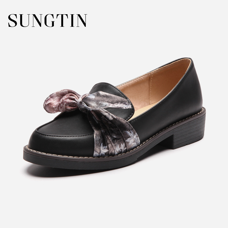 Sungtin Fashion Butterfly-knot Leather Shoes Women Casual Loafers Slip-On Pointed Toe Platform Flats Spring Chunky Heel Shoes cootelili 36 40 plus size spring casual flats women shoes solid slip on ladies loafers butterfly knot pointed toe soft shoes