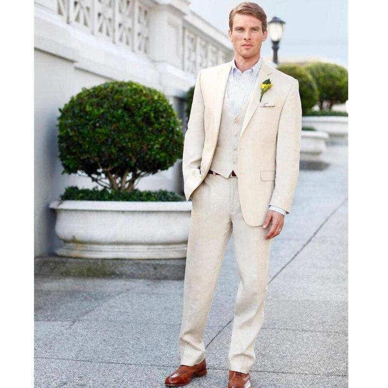 New Arrival new Wedding Suits For Men beige tuxedos for men 3 pieces groom Wedding Suits Notched Lapel men suits