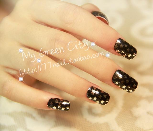 Plating metal cute nice looking nail art patch medium long square plating metal cute nice looking nail art patch medium long square toe false nail star prinsesfo Images