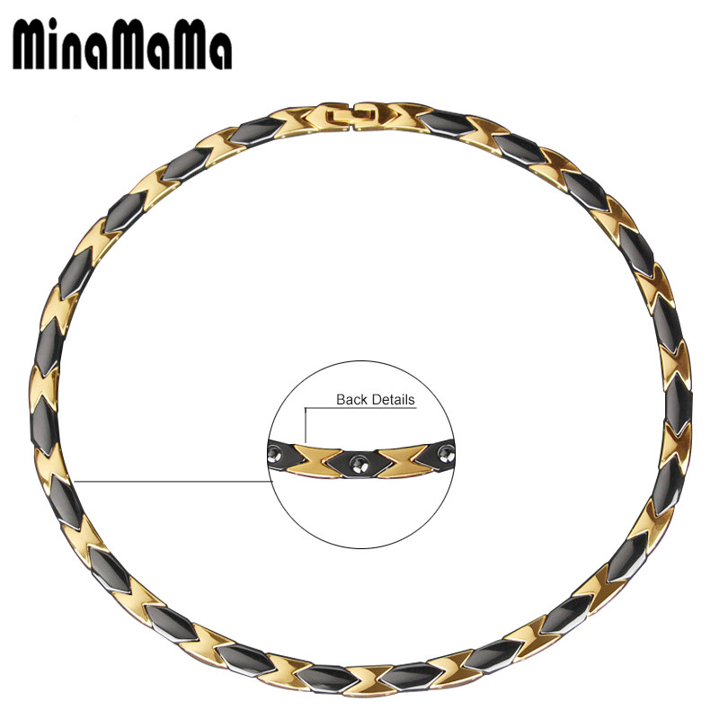 Black Gold Double Color Stainless Steel Ceramic Magnetic Necklace For Women Men Luxury Choker Male Jewelry GiftBlack Gold Double Color Stainless Steel Ceramic Magnetic Necklace For Women Men Luxury Choker Male Jewelry Gift