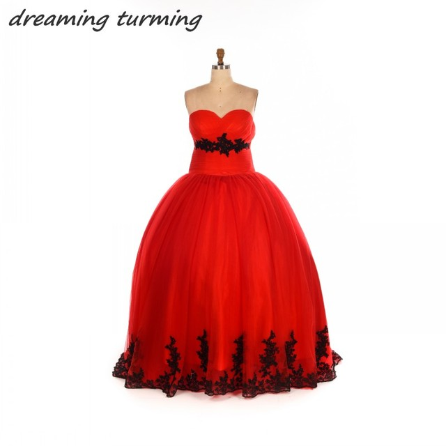Vestidos De Noiva Red Black Wedding Dress Tulle Lace Applique Ball ...