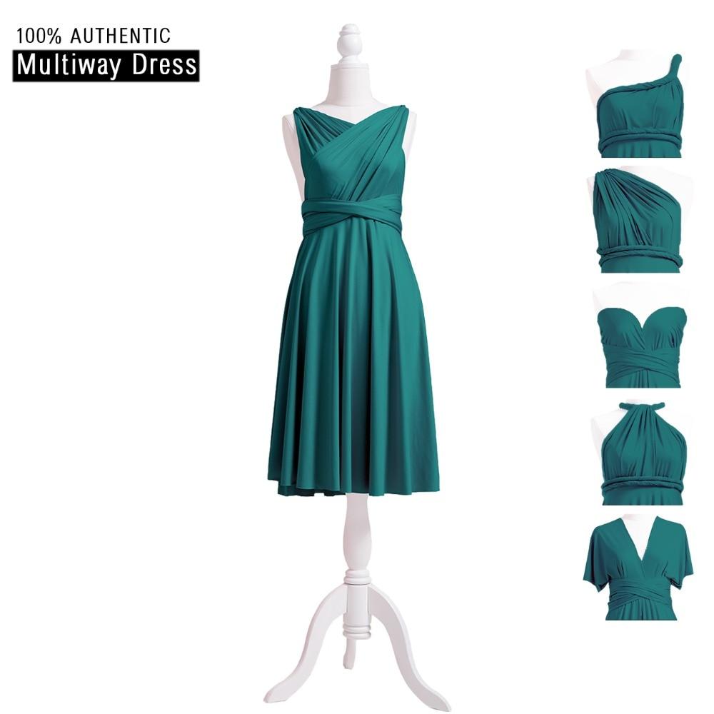 Teal   Bridesmaid     Dress   Infinity Short   Dress   Elegant Multi Way   Dress   Convertible Wrap   Dress   With Criss-Cross Style