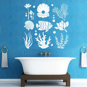 Marine Seaweed Wall Decals Ocean Sea Life Wall Sticker Sea Fish Animal Removable Wallpaper DIY Vinyl Bathroom Decor Art AY988