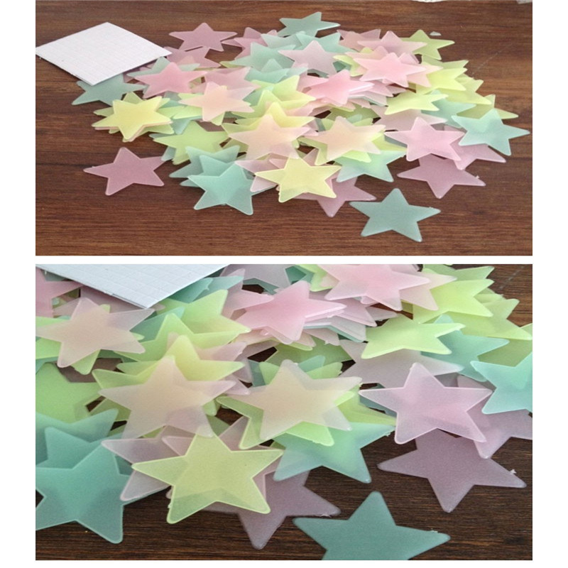 50pcs 3D Stars Glow In The Dark Wall Stickers Luminous Fluorescent Wall Stickers For Kids Baby Room Bedroom Ceiling Home Decor in Wall Stickers from Home Garden