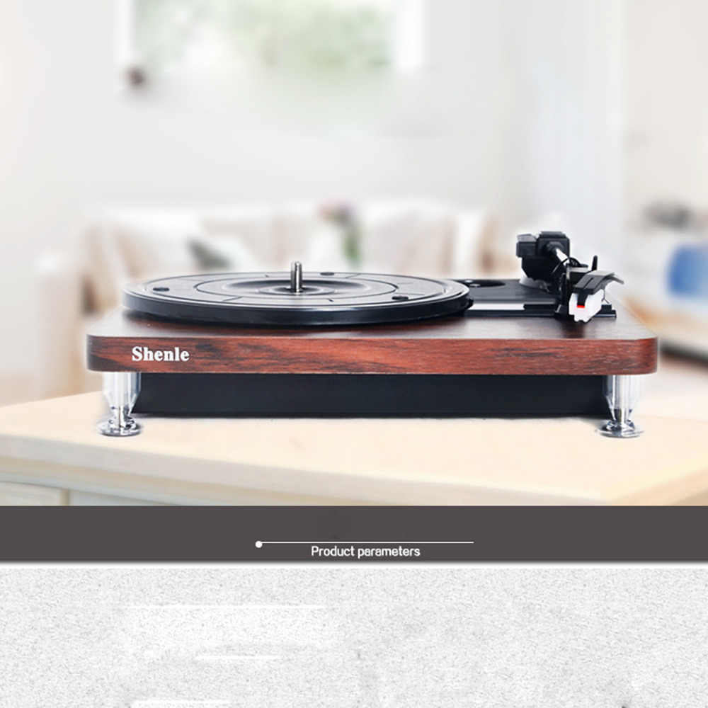 Herdio Record Player 33RPM Antique Gramophone Turntable Disc Vinyl Audio  Record Player RCA Out USB Charger DC5V Wood Color