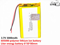1/2/4Pcs 3.7V polymer lithium battery 605080 3000MAH Rechargeable Li-ion Cell For MP3 MP4 MP5 Tablet PC GPS E-book BT Speaker