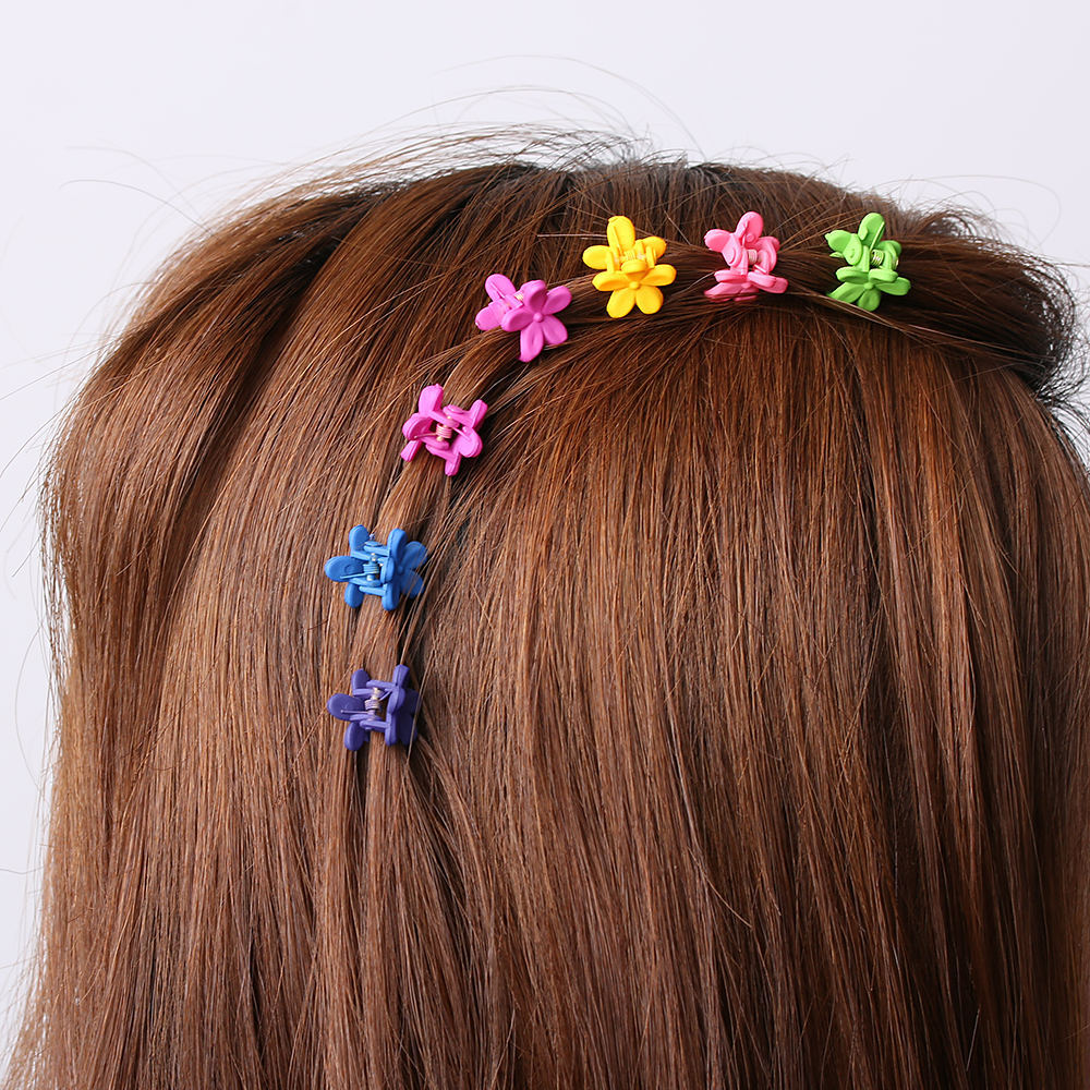 30 pcs Fashion Hair Accessories Hairpins Small Flowers Gripper Korean Children 4 Claws Plastic Hair Clips Clamp 5 pcs lot hot sale korean hair accessories candy colors small flower hair claws gripper cute kids girls plastic hairpins