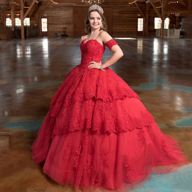 c4763662c1c Elegant Red Ball Gown Long Quinceanera Dresses 2019 Sweetheart Spaghetti  Tiered Lace Applique Sweet 16 Dresses for 15 16