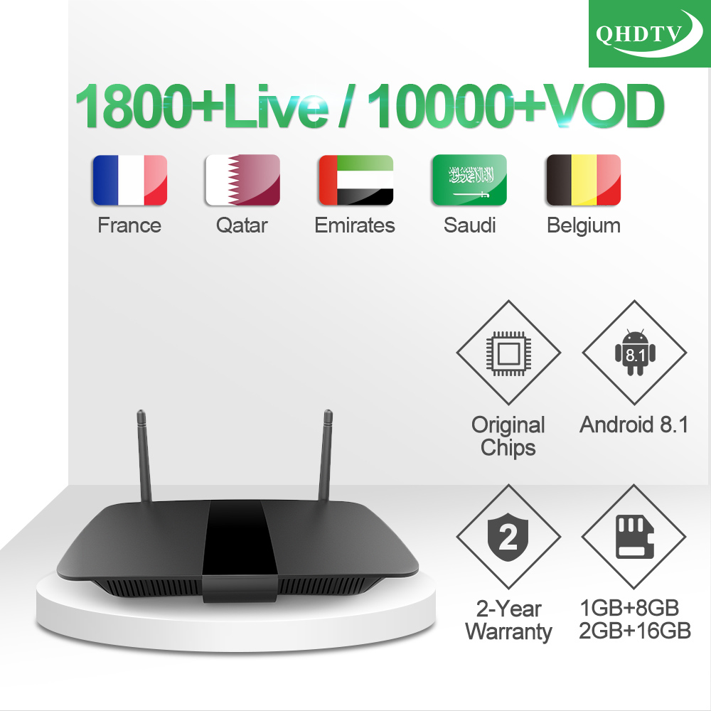 IP TV France Leadcool Q1504 Box 1 year QHDTV Arabic France IPTV Code TV Box Android 8 1 Belgium Qatar Morocco IPTV Subscription in Set top Boxes from Consumer Electronics