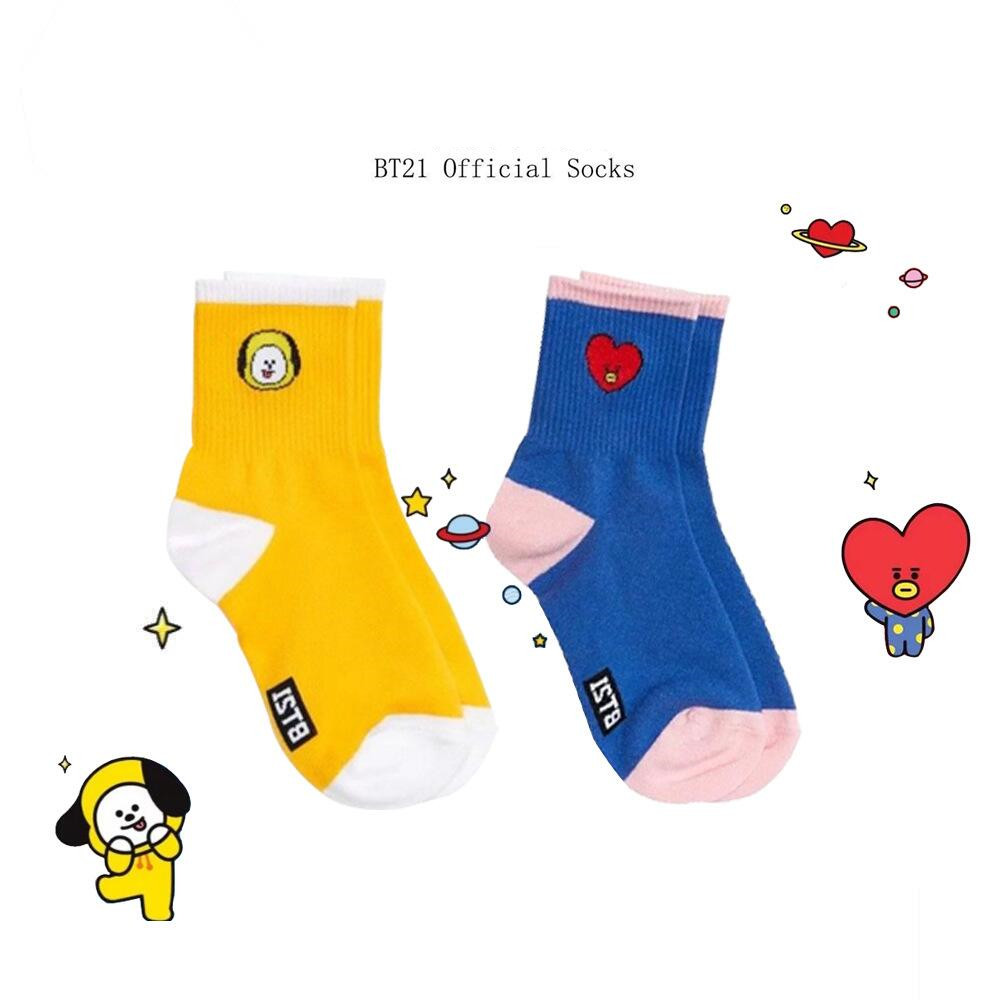 2019 New Hot KPOP BTS Cotton Happy   Socks   Women Fashion BT21 CHIMMY COOKY KOYA TATA SHOOKY Cartoon Casual   Sock   KPOP Funny Hosiery
