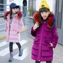 Children Clothing Girls Winter Coat Faux Fur Collar Cotton-padded Kids Teens Clothes Jackets For Girls Pink New Year Costume