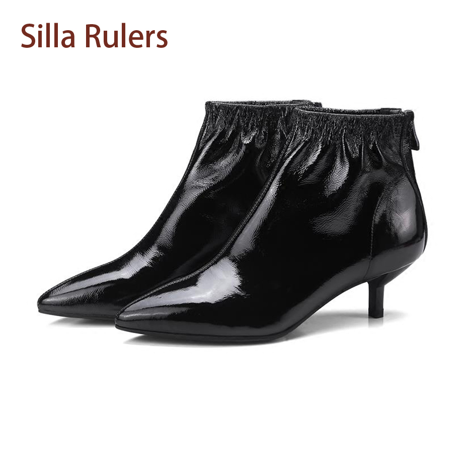 Silla Rulers Pointed Toe Elastic Women Short Boots Black Red Patent Leather Stiletto Heel Back Zipper Fashion Women Ankle Boots fashion pointed toe and stiletto heel design ankle boots for women