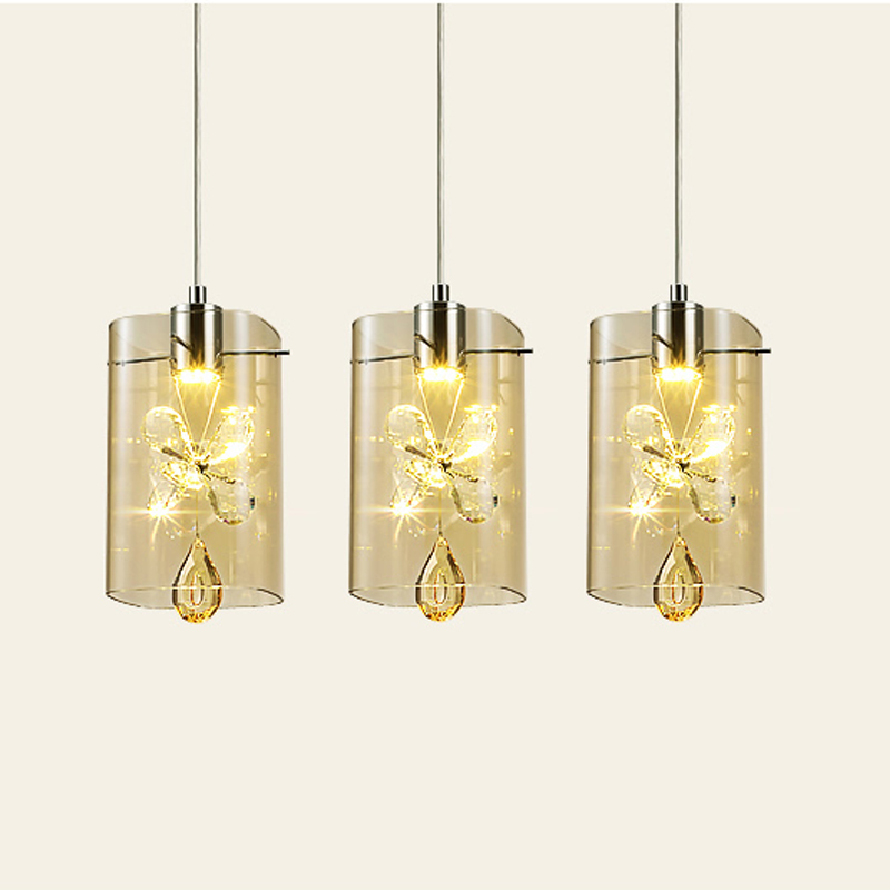 New Modern Minimalist LED Glass Shade Hanging Light Creative Crystal Pendant Lamp Lighting Fixtures For Bar Aisle Stairs PL529 best price 3pc set lighting crystal lamp modern brief led pendant lamp creative crystal pendant lamp bar light free shipping