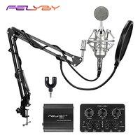 ¡Caliente! FELYBY NP800 micrófono condensador de grabación profesional para ordenador con alimentación Phantom y sonido multifunción para coche