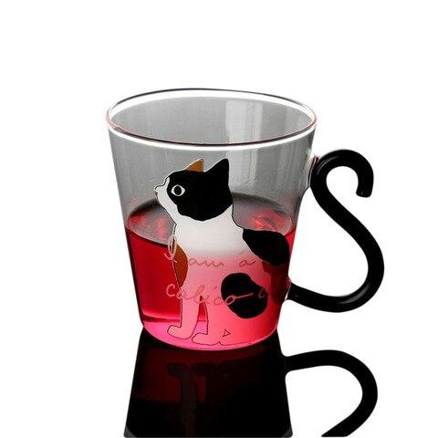 Copo de Vidro de Água Impresso resistente ao Calor Caneca de Leite Xícara de Suco de Café Personalidade Estilo Japonês Coreano 3d Gato Isolados Canecas 8.5 oz