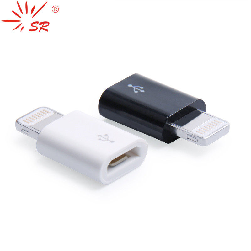 SR Micro USB To Lighting 8 Pin Adapter Female To Male Converter Connector Support IOS 8 System Charging Sync Data For Apple