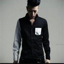 2016 Personality color block decoration long-sleeve shirt unique style shirt plus size fashion men's singer costumes clothing