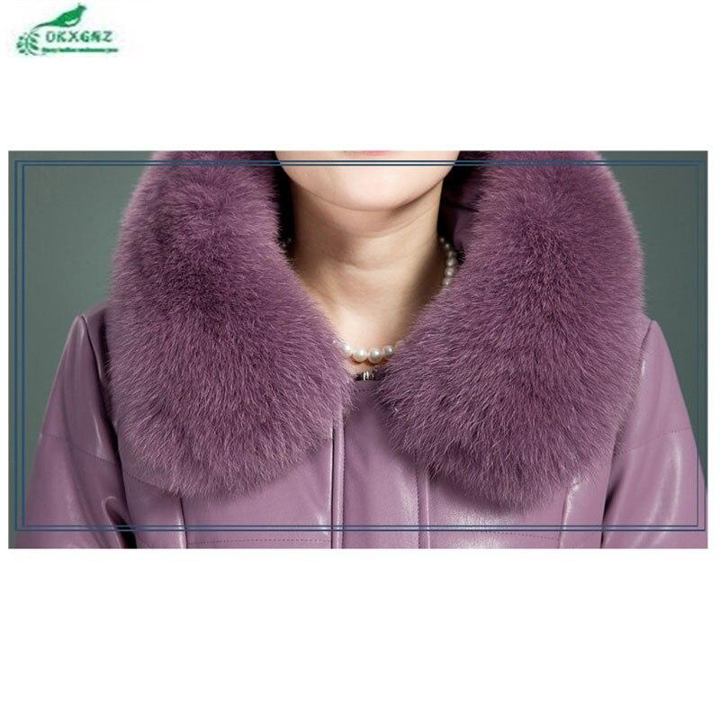 Le Okxgnz Taille En Bas Manteau Nouveau Color Femmes Âgées Plume Cuir Colocasia black Purple Vers Survêtement Mince Épaississement violet Personnes Veste Plus D'hiver Coton La dark Longue wxYqqZ0tR