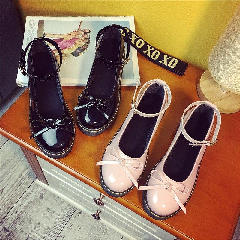 HoneyCherry Japanese styke Doll Shoes Fashion Cosplay Lolita Pointed Maid Uniform Size Students womens