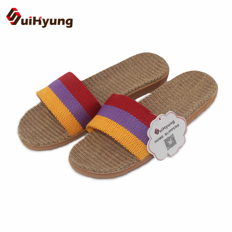 Suihyung Women Men Health Linen Slippers Colored Stripe Hemp Home Slippers Indoor Shoes Female Non-slip Beach Slippers suihyung design new women and men summer flat shoes hit color breathable hollow beach slippers flips non slip unisex sandals