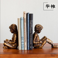Vintage creative book stall ornaments abstract boy girl resin sculpture imitation bronze figures statue home decoration crafts
