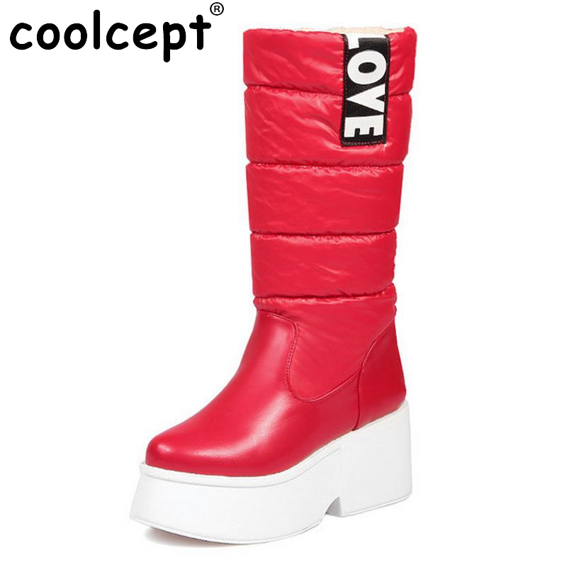 Winter Thick Fur Inside Warm Snow Boots Platform With Bowtie High Quality Mid Calf Half Boots For Women Shoes Size 34-43 lukuco pure color women mid calf snow boots with faux fur design high quality pu made med wedges heel shoes