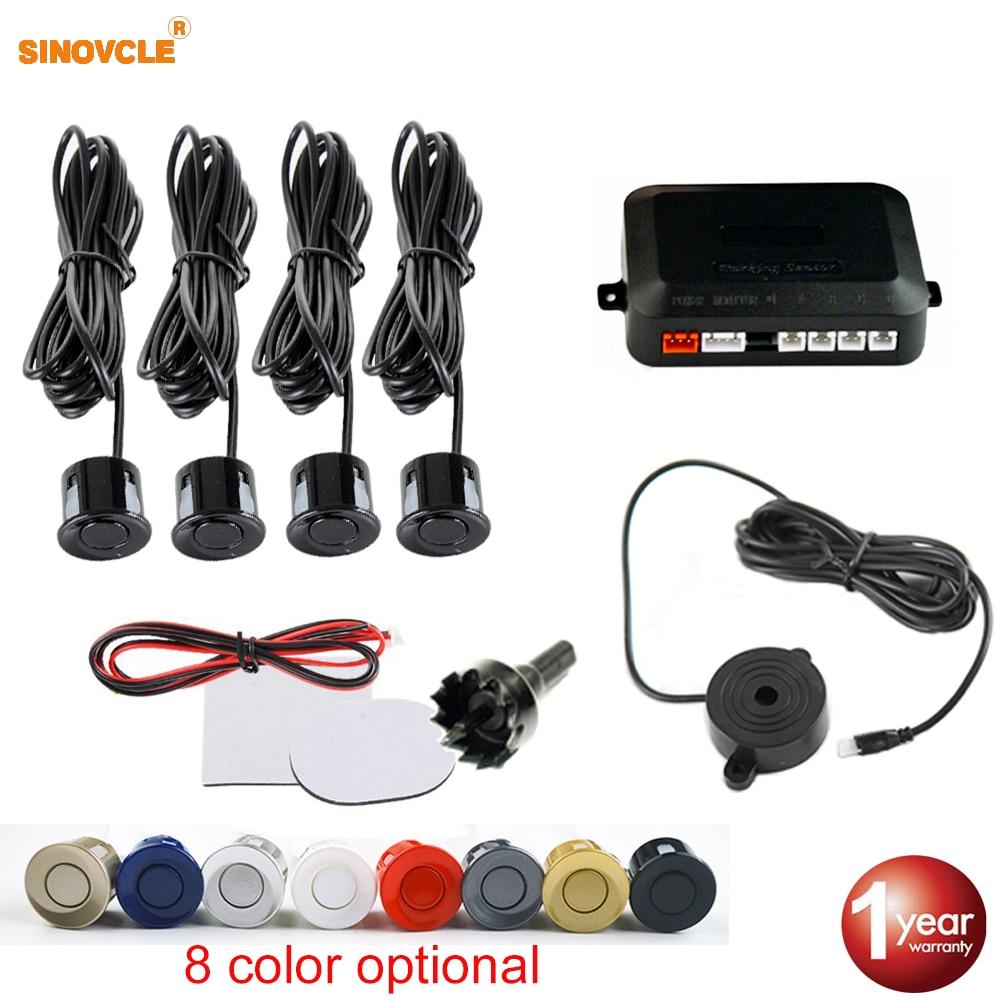 Sinovcle Car Parking Sensor Parktronic 4 Sensors 22 Mm With Buzzer Reverse Backup Radar Buzzer System 8 Colors 12V