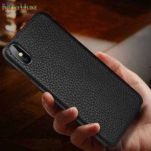 Genuine Leather Back Case for iPhone XS Max XR 11 Pro Cover X 6 6S 7 8 Plus Luxury Litchi Pattern Phone Bag