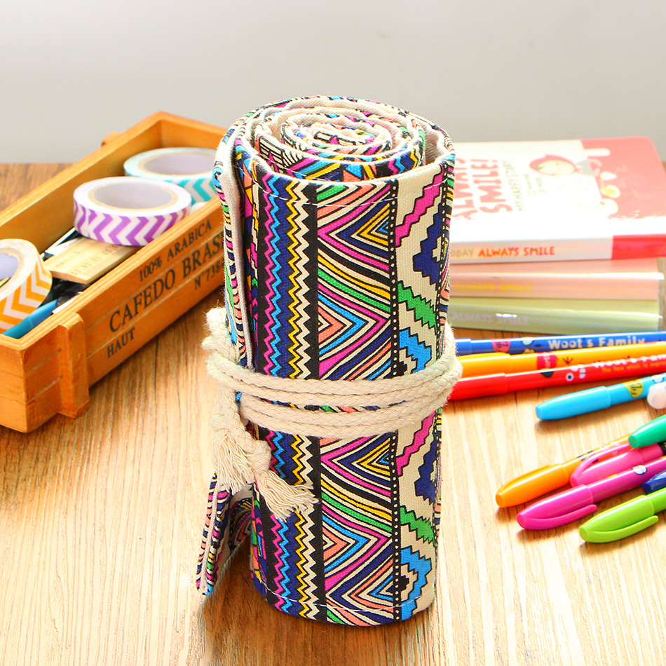 36/48/72 Holes Pen Pencil Case Students Stationary Roll Pouch Makeup Comestic Brush Pen Storage Bag цена