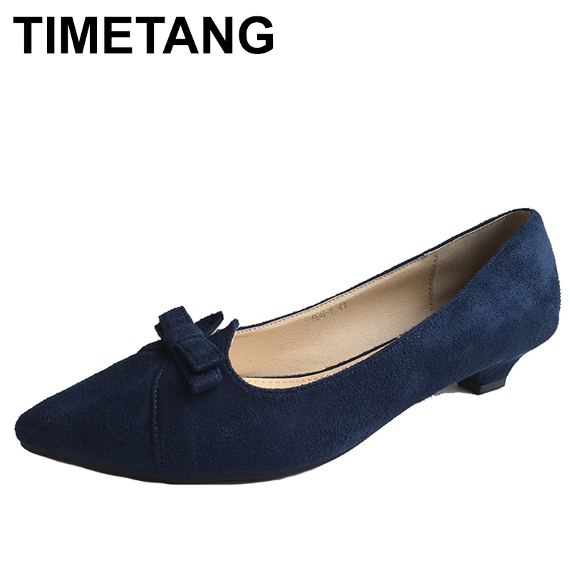 TIMETANG New Fashion Shoes Women High Heels Pointed toe Elegant Bowknot Women's Pumps Office Ladies Brand Shoes Low Heels C247 memunia flock pointed toe ladies summer high heels shoes fashion buckle color mixing women pumps elegant lady prom shoes