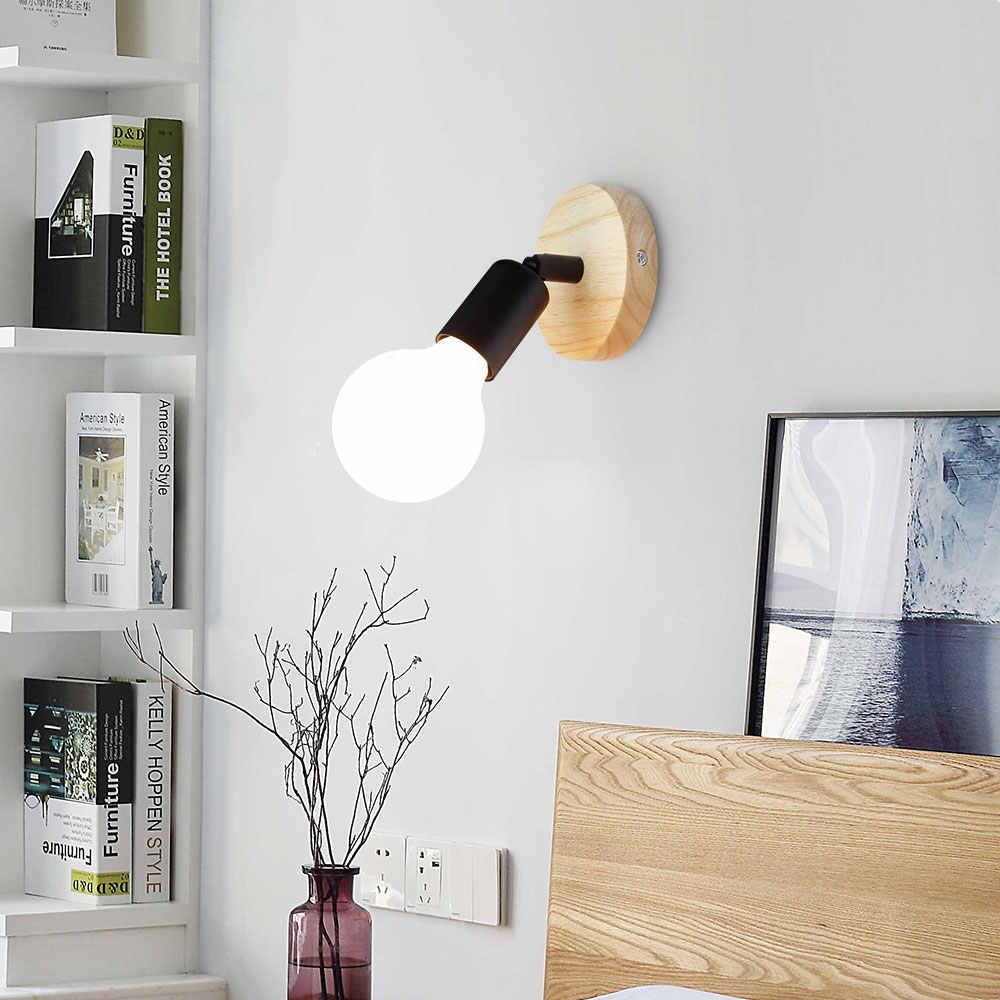 Светодиодный настенный светильник современный деревянный светильник скандинавский Лофт стиль лампы промышленное винтажное железо настенный светильник для бара кафе освещение для дома, ресторана