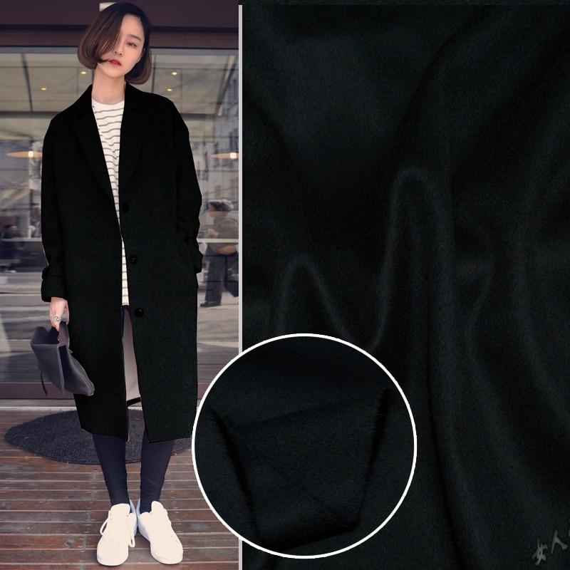 Высокая-конец короткие волосы черный голубой Двусторонняя шерсть кашемировая ткань осенние и зимние пальто одежда