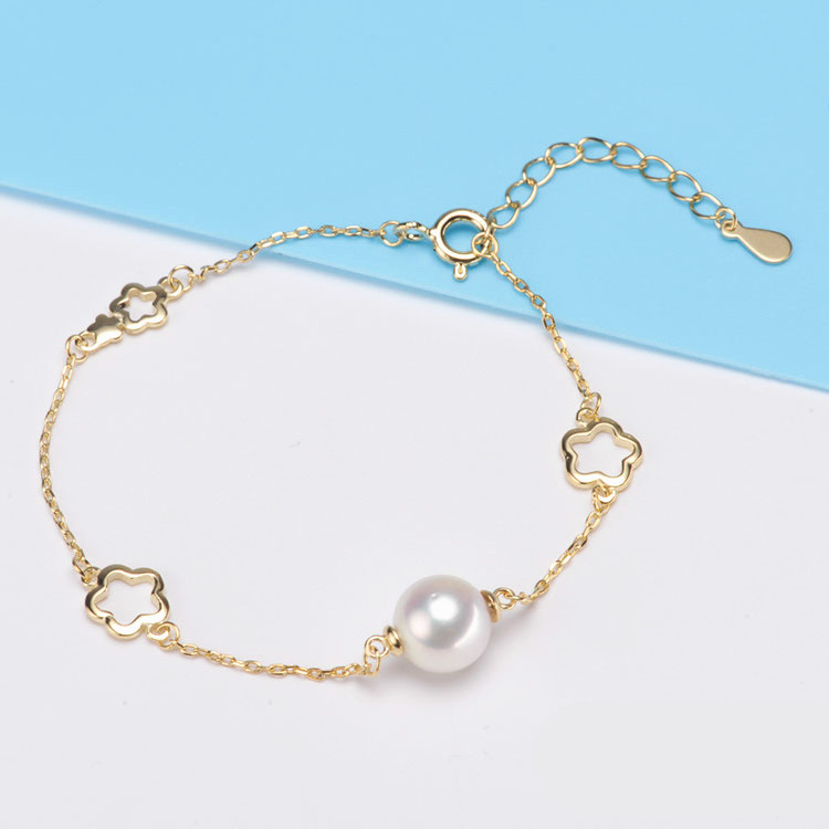 8-9mm Small Natural Pearl Bracelets For Women Elegant High Luster Round Freshwater Pearl Jewelry Silver S925 Bracelet 2017 elegant 8 9mm white freshwater aaaa pearl necklace 45cm bread round high luster women pearl pendant