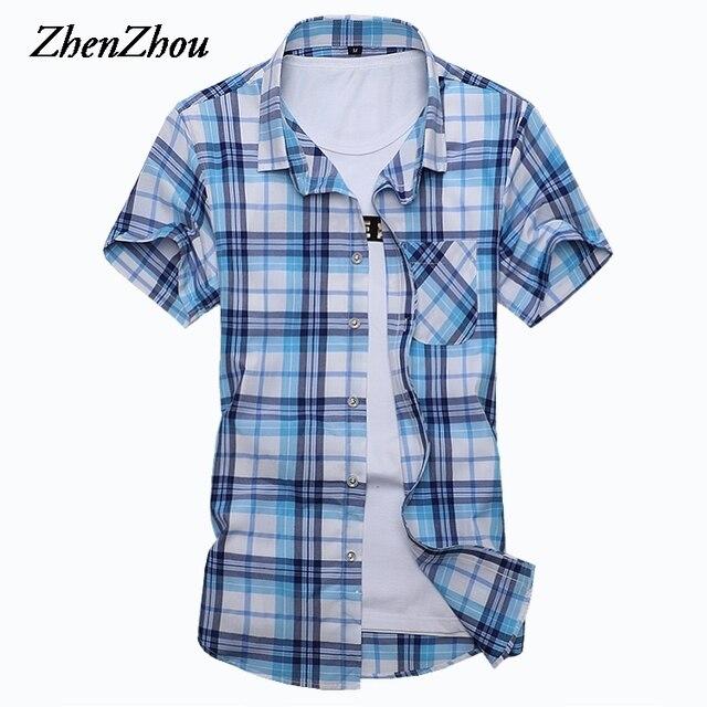 b7bc25af3c20487 Клетчатые мужские рубашки с коротким рукавом из хлопка 2018 Летние  повседневные рубашки мужские большие размеры рубашки
