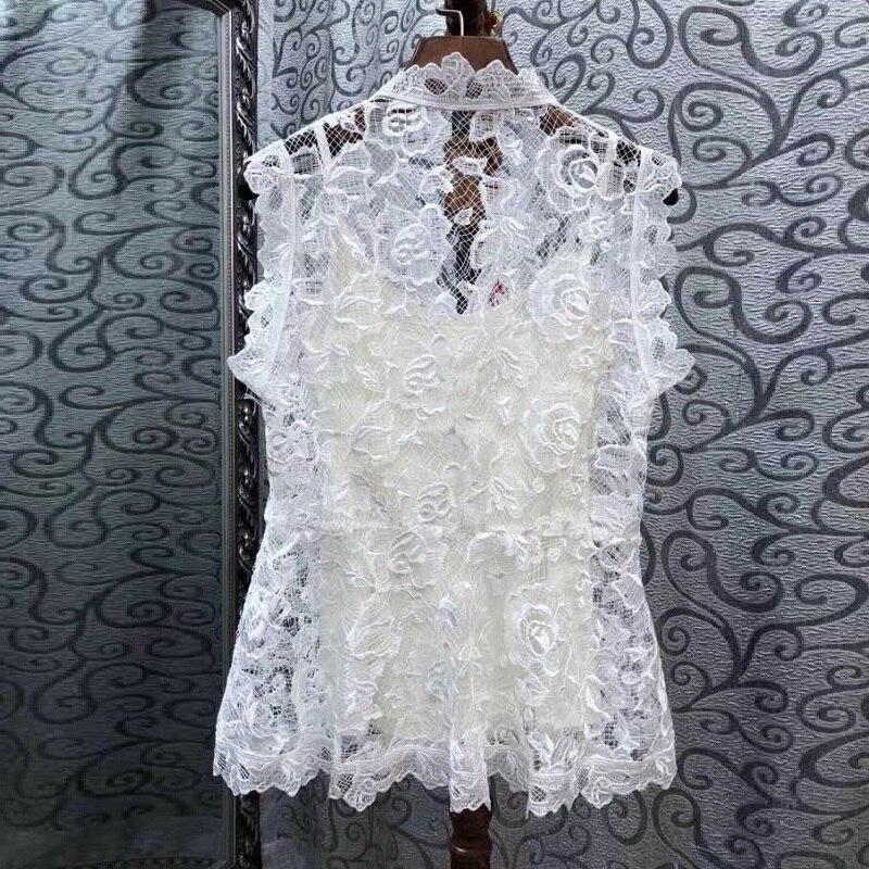 Calidad Abalorios Mangas De Verano Sin Blusa 2019 Elegante Moda Camisas Alta Botones Tops Camisa Encaje Cristal 7Exqw87