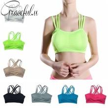 Sport Bra Fitness Gym Vest Yoga Bra Padded Push Up Strappy Running Top Women Underwear Shockproof Breathable Sportswear