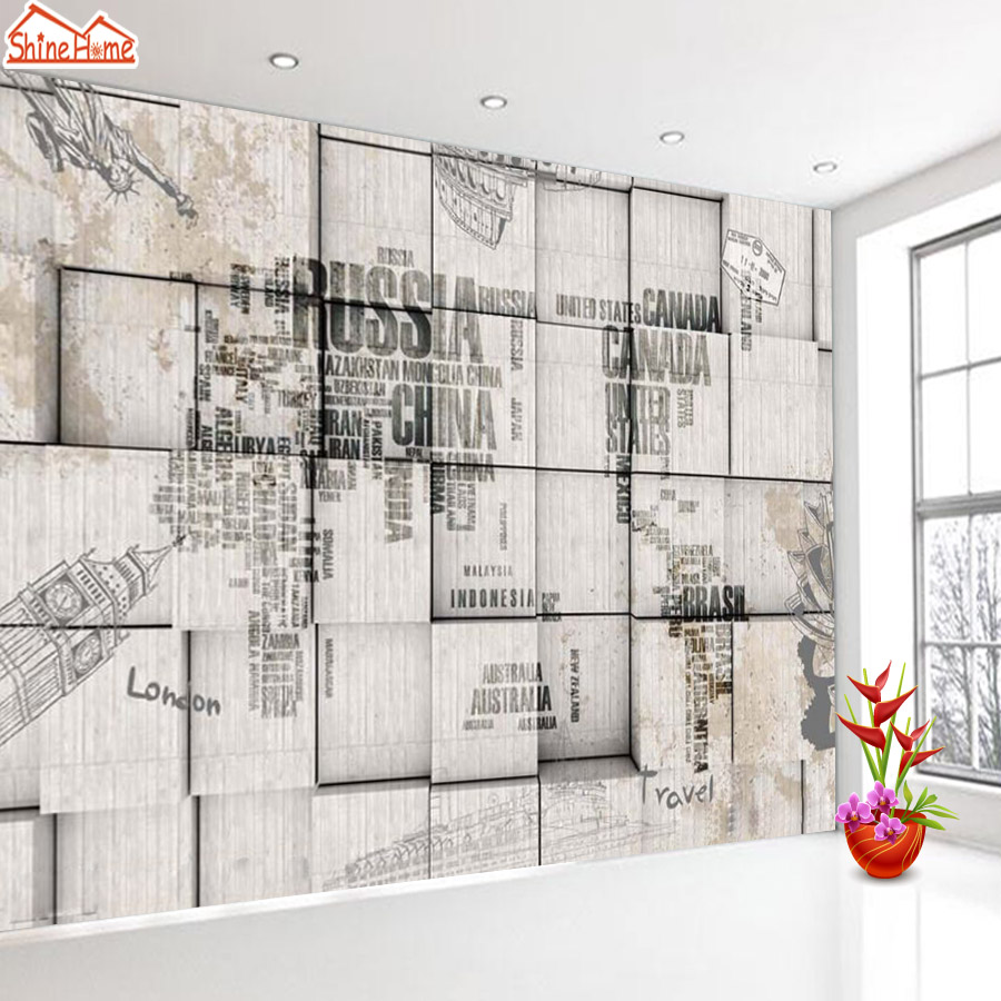 ShineHome-Retro World Map Brick Wallpapers Rolls 3d Photo Wallpaper for Walls 3 d Livingroom Wall Mural Roll Paper Home Decor shinehome waterfall wallpaper rolls wallpapers 3d kids room wall paper murals for walls 3 d wallpapers for livingroom mural roll