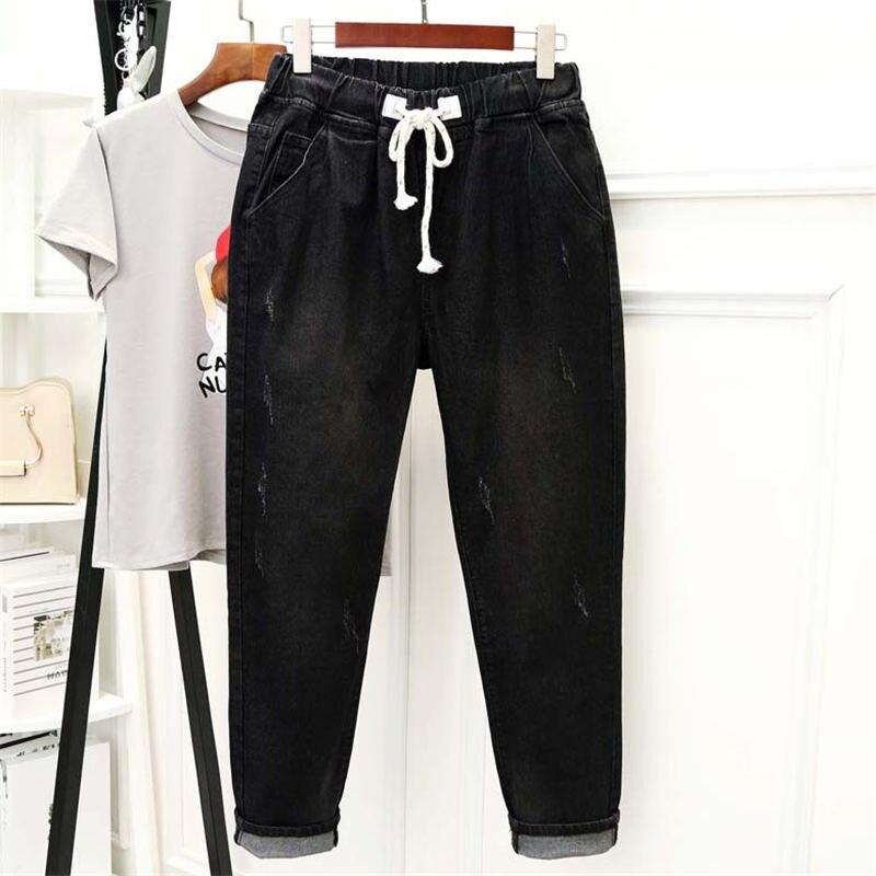 Black Jeans Women High Waisted Denim Harem Pants Lace Up Plus Size 5XL Mom Jeans Casual Streetwear Boyfriend Jeans Femme Q1337
