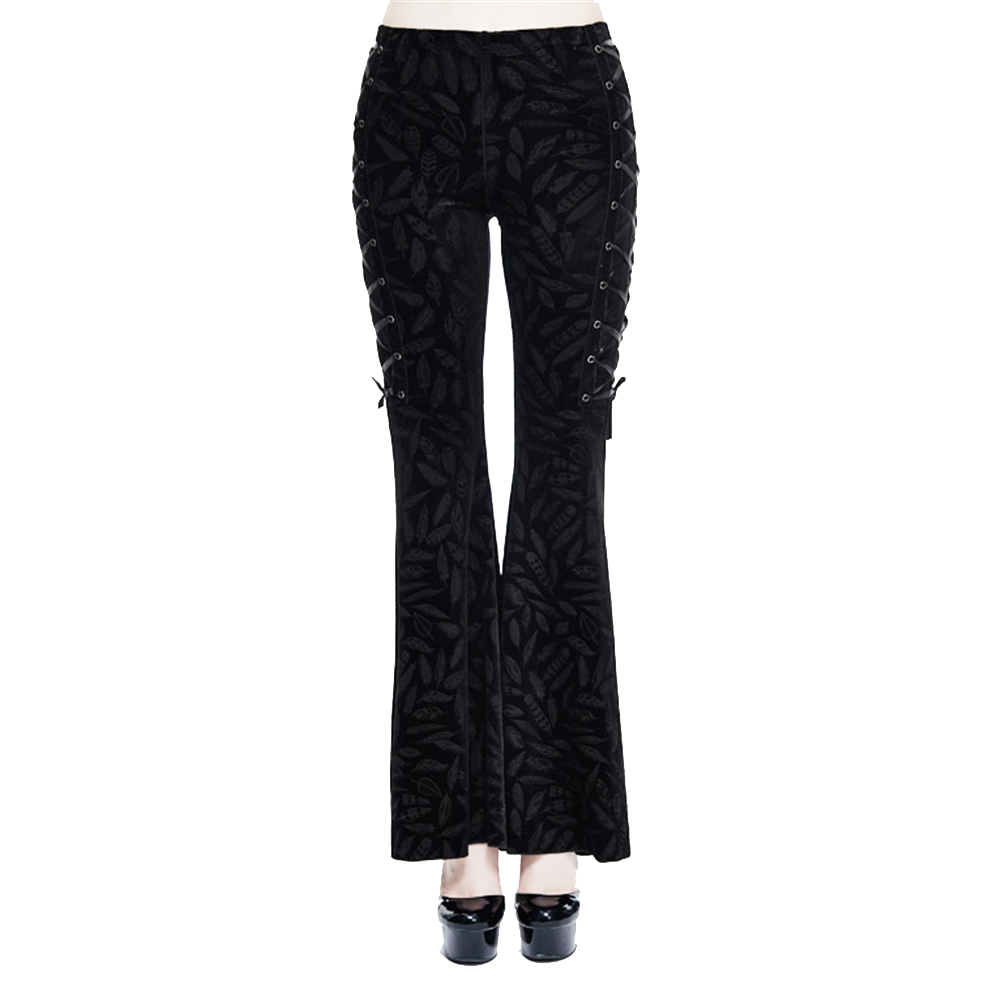 Punk Womens Lace Up Palazzo Bell Bottom   Pants   Long   Wide     Leg     Pants   Retro High Wiast Print Flared   Pants