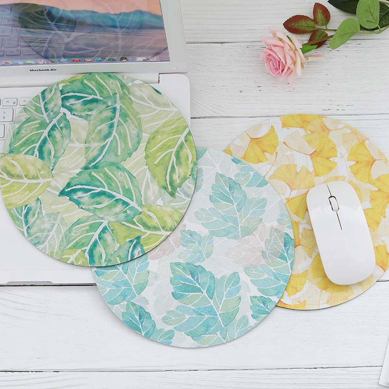Mat Leaves Flower Mice Pad Gaming Mouse Pads Soft Rubber mat Beautiful Romantic Round Computer Mouse Pad Computer Mouse Padding