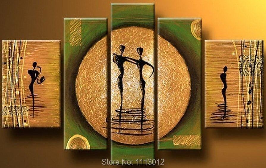 Лидер продаж высокое качество 5 шт. комплект Луны танцоров картина маслом на холсте Абстрактная украшения дома Современные настенные карти...