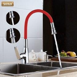 XOXO 360 neue kommen 7 farbe silikon nasen beliebige richtung beide kalt und heißer mix wasserhahn in die kitchen1302R