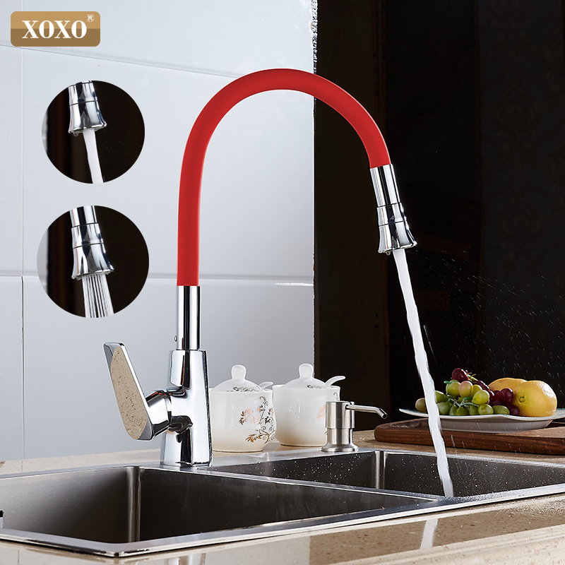 XOXO 360 New Arrive 7 Color Silicone Nasal Arbitrary Direction Both Cold And Hot Mix Faucet In The Kitchen1302R