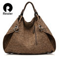 REALER brand casual women tote bag female extra large capacity handbag new design knitted linen bag ladies crossbody bags